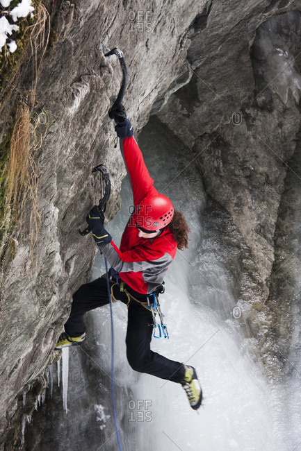 November 24, 2011: High Angle View Of An Ice Climber In Kaprun, Austria
