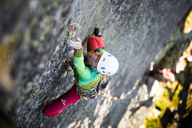 August 31, 2016: High Angle View Of A Female Climber On Difficult Route In Tatra Mountains, Poland