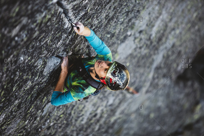 August 31, 2016: Female climber on difficult climbing Route in Tatra Mountains, Poland