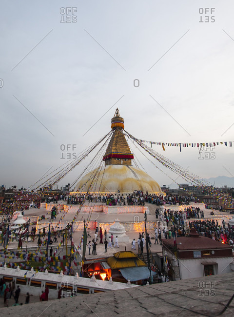 April 3, 2007: Celebrating Of Buddha's Birthday At The Boudhanath Temple In Kathmandu, Nepal