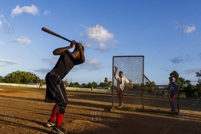 September 12, 2017: A Young Baseball Player Swinging Bat In The Dominican Republic