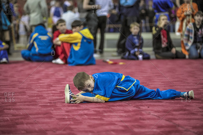 January 16, 2017: A Child Performs A Split As Part Of A Wushu Performance
