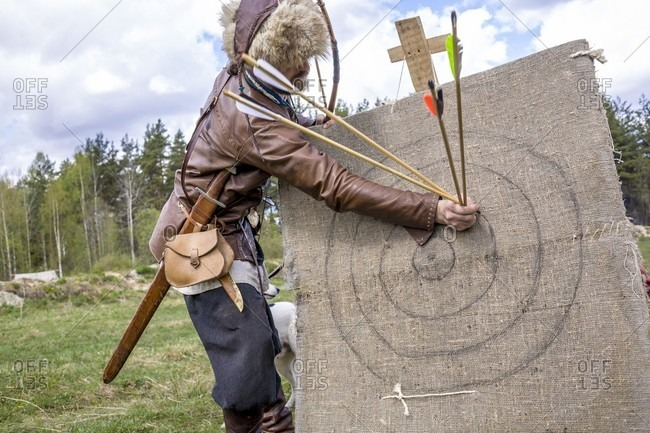 September 12, 2017: A Man Pulls Arrows From An Archery Target During A Festival Of Medieval Culture In Russia