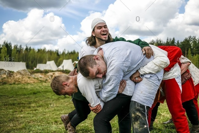 September 12, 2017: Re-enactors Wrestling At A Festival Of Medieval Culture In Russia