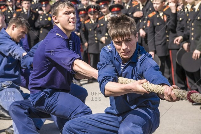 September 12, 2017: A Russian Cadets Compete In A Game Of Tug-of-war
