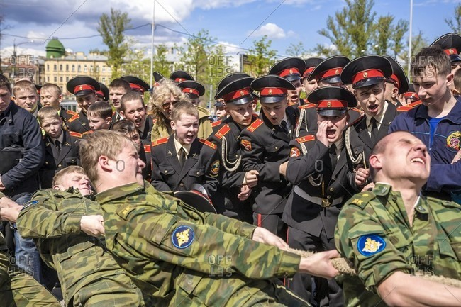 September 12, 2017: Group Of A Russian Cadets Competing In A Game Of Tug-of-war