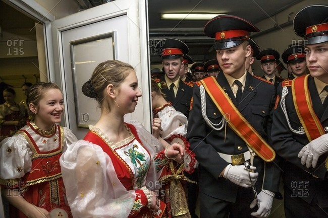 September 12, 2017: Russian Cadets And Young Woman In Russian National Clothes