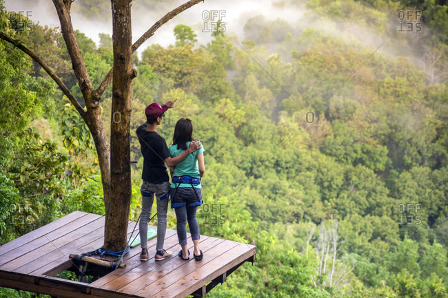 September 12, 2017: Two People Exploring Kalibiru National Park In Java, Indonesia