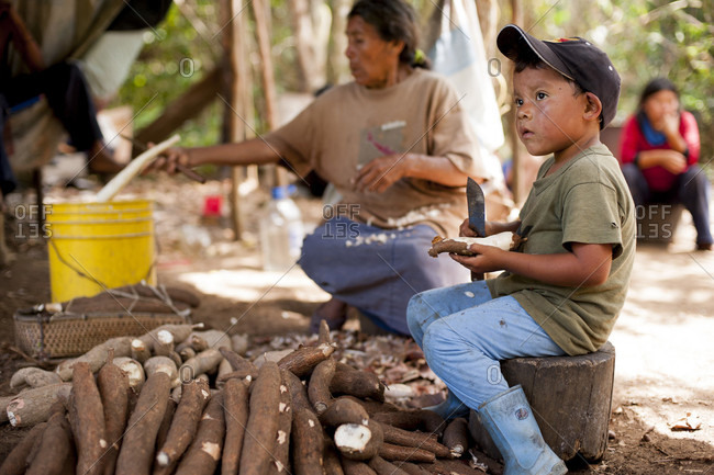 February 5, 2012: A Family Cleaning The Manioc In Venezuela