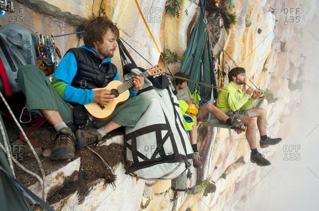 February 5, 2012: Nicolas Favresse, Stephane Hanssens And Sean Villanueva Playing Music On The Portaledge In Venezuela