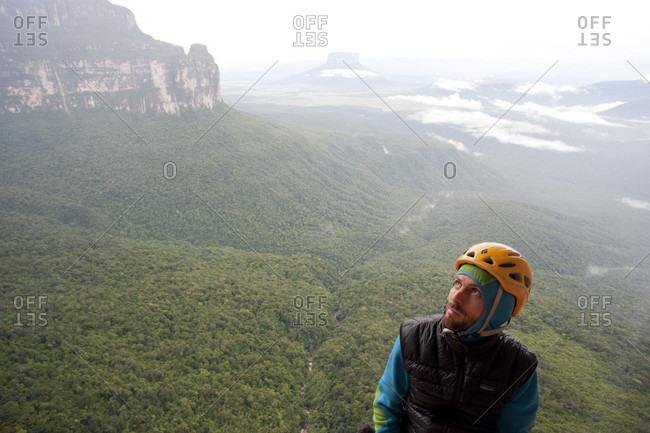 February 5, 2012: A Male Climber Exploring Canaima National Park, Bolivar State, Venezuela