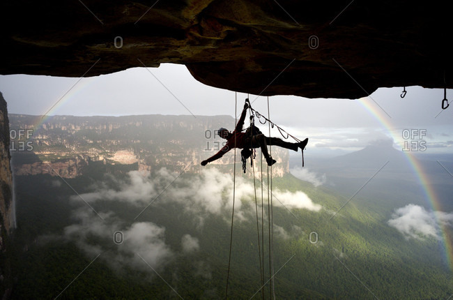 February 5, 2012: Silhouette Of A Climber Hanging On The Rocky Mountain, Bolivar State, Venezuela