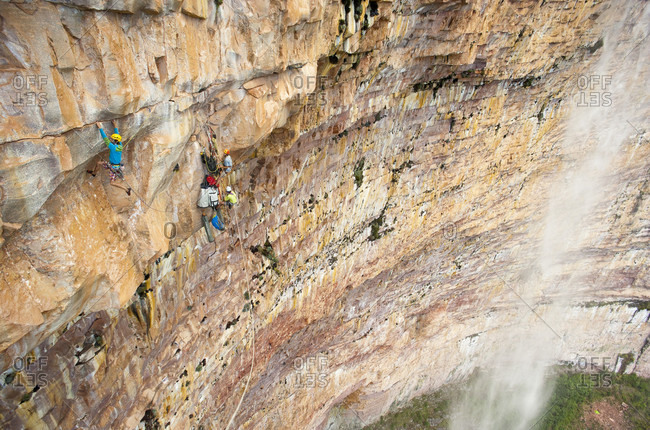 February 5, 2012: Male Climber Climbing On The Rocky Mountain, Bolivar State, Venezuela