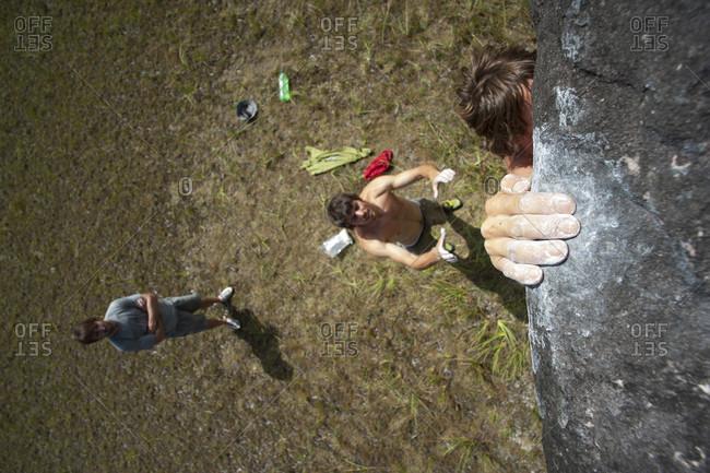 February 5, 2012: High Angle View Of A Man Climbing Boulder, Bolivar State, Venezuela