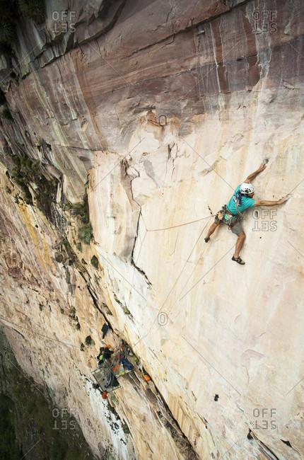 February 5, 2012: Rear View Of A Man Climbing Rocky Mountain, Bolivar State, Venezuela