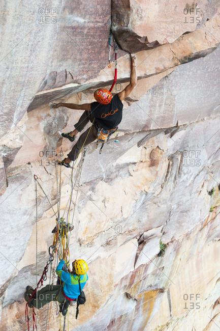 February 5, 2012: Two Men Climbing Rocky Mountain, Bolivar State, Venezuela