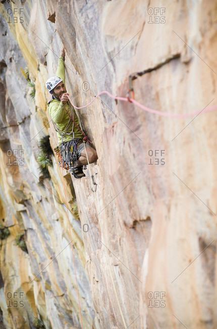 February 5, 2012: View Of A Man Rock Climbing, Bolivar State, Venezuela