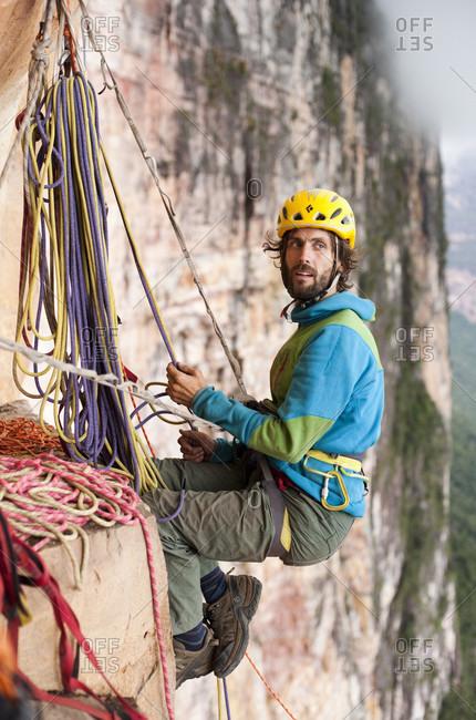 February 5, 2012: Man Climbing Rocky Mountain, Bolivar State, Venezuela