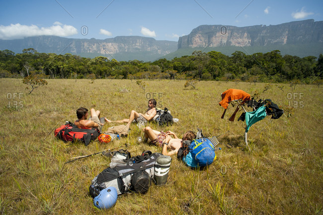 February 5, 2012: Group Of Men Taking Rest , Bolivar State, Venezuela