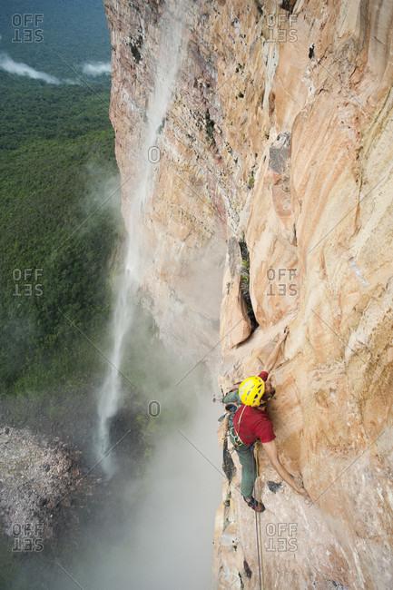 February 5, 2012: High Angle View Of Man Climbing Rocky Mountain, Bolivar State, Venezuela