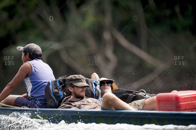 February 5, 2012: Men Relaxing On Boat In River, Bolivar State, Venezuela