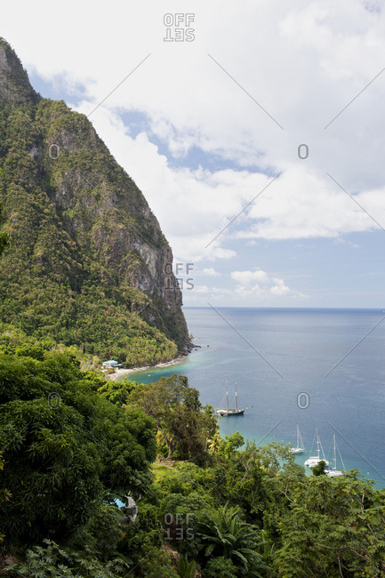 Boats along shore of Saint Lucia