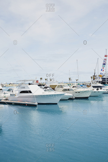 Bermuda - March 26, 2017: Boats in a dockyard