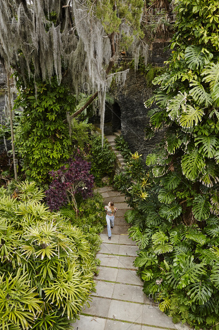 Bermuda - March 26, 2017: Person in a botanical garden