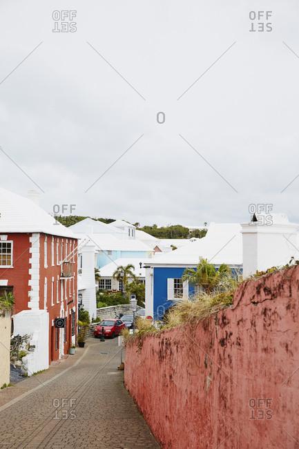 St George, Bermuda - March 27, 2017: Pretty residential street
