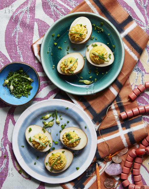 Cured deviled eggs with chives