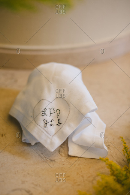 Cloth with letters for wedding