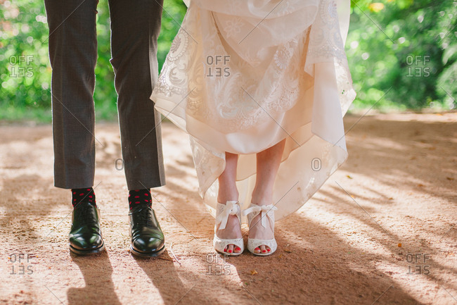 Feet of bride and groom