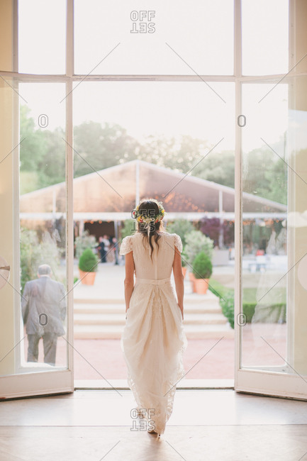 Bride going out of a building