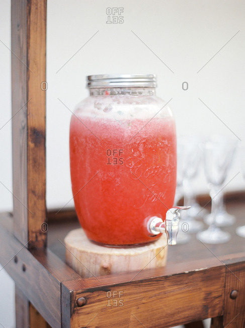 Chilled drink in a glass dispenser