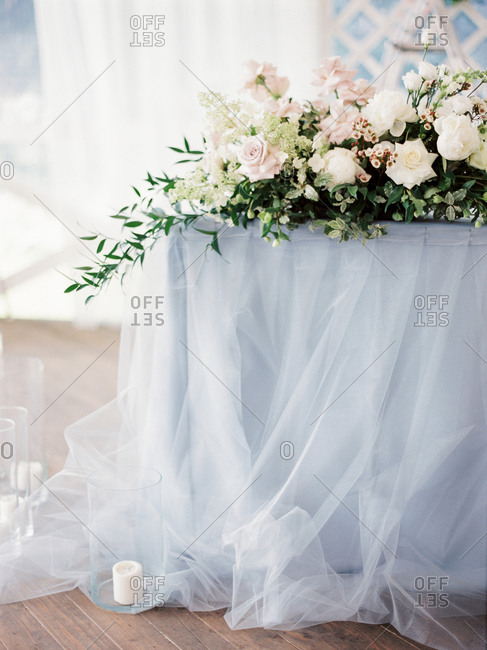 Floral display on table for wedding