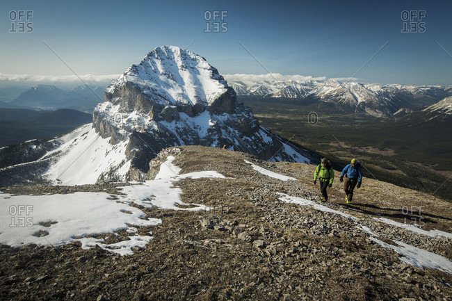 People standing on Crowsnest Pass during daytime, Alberta, Canada