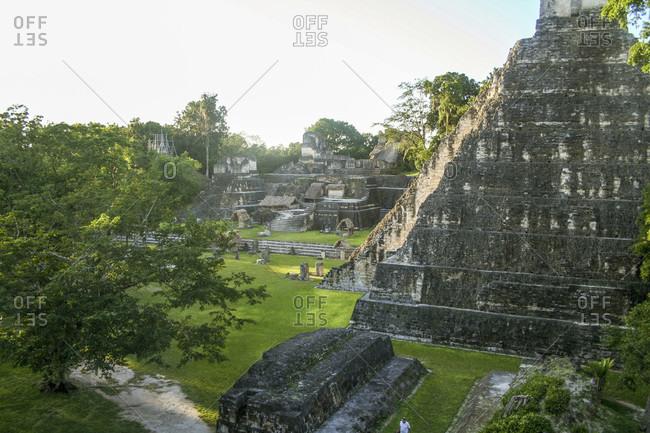 Tikal Temple 1 sits among the ruins of the ancient Mayan city Tikal in Guatemala.