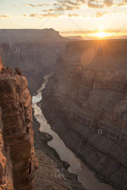 Sun rises over Toroweap Overlook and the Colorado River at the North Rim of Grand Canyon National Park