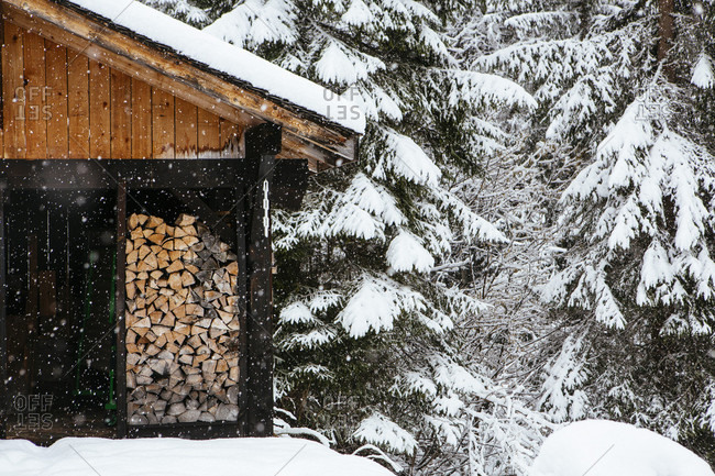 Winter landscape scenes near Morzine, France, part of the Portes du Soleil ski area along the France - Switzerland border.