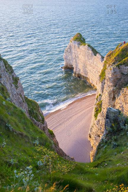 White chalk cliffs on English Channel, Etretat, Normandy, France