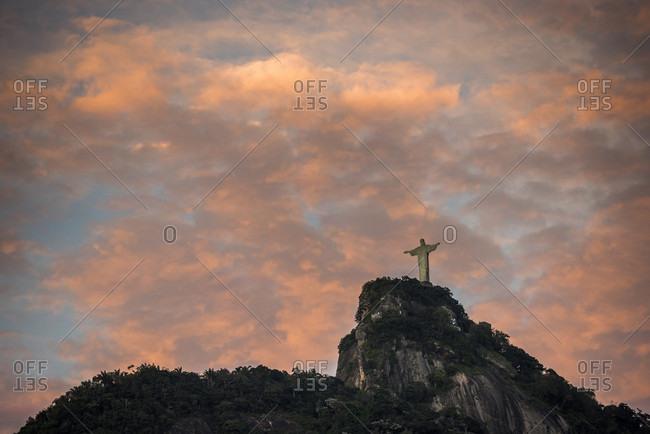 Rio de Janeiro, Brazil - May 5, 2015: Christ the Redeemer statue at dawn, Rio de Janeiro, Brazil