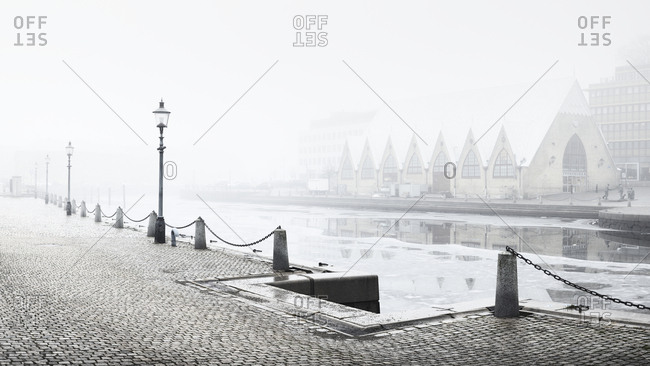 Gothenburg, Sweeden - May 18, 2012: Embankment in fog