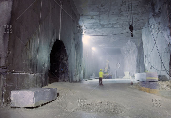 Carrera, Italy - July 4, 2009: Interior of a marble quarry