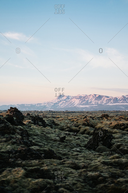 Volcanic prairie near mountains