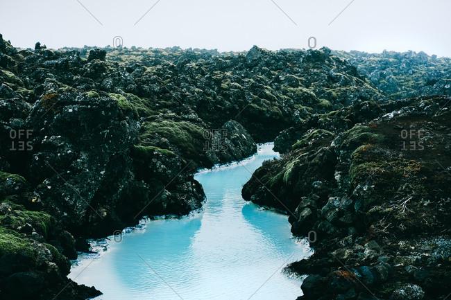 Pristine stream among volcanic rock