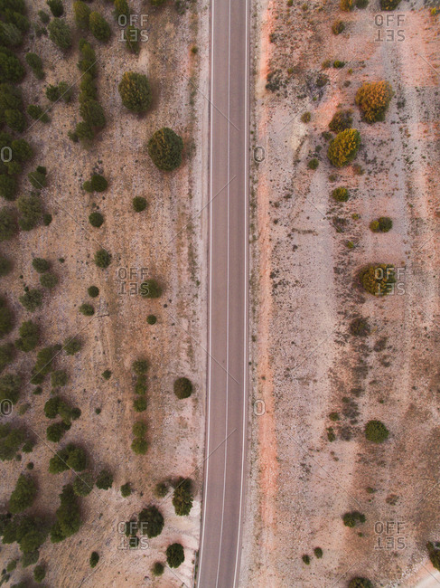 Aerial view of highway in the desert