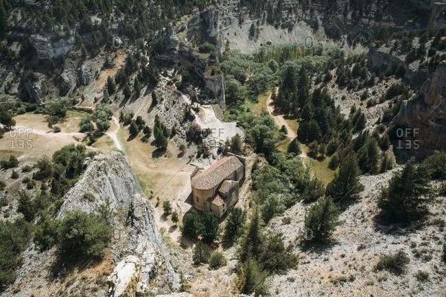 Saint Bartholomew Hermitage in Rio Lobos canyon in Soria, Spain