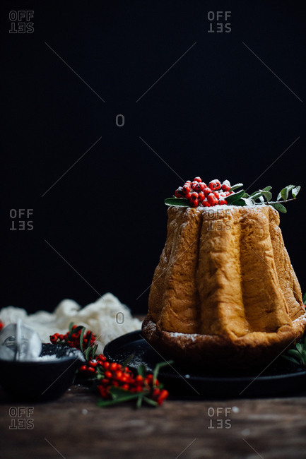 Holiday cake with powdered sugar and berries