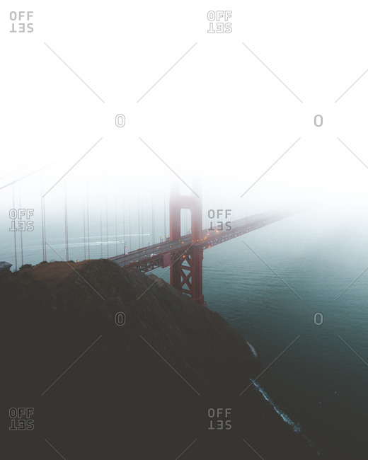 Golden gate bridge shrouded in fog