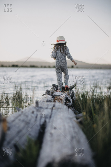 Rear view of girl walking on driftwood at lakeshore against clear sky